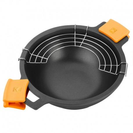 Wok haut de gamme induction 28cm collection prestige wok induction en fonte 28cm - Plancha haut de gamme ...