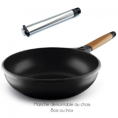 wok castey 28cm induction avec manche amovible. Black Bedroom Furniture Sets. Home Design Ideas
